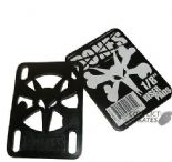 "BONES / POWELL Skateboard Riser Pads Hard Risers 1/8"" Black Pair"